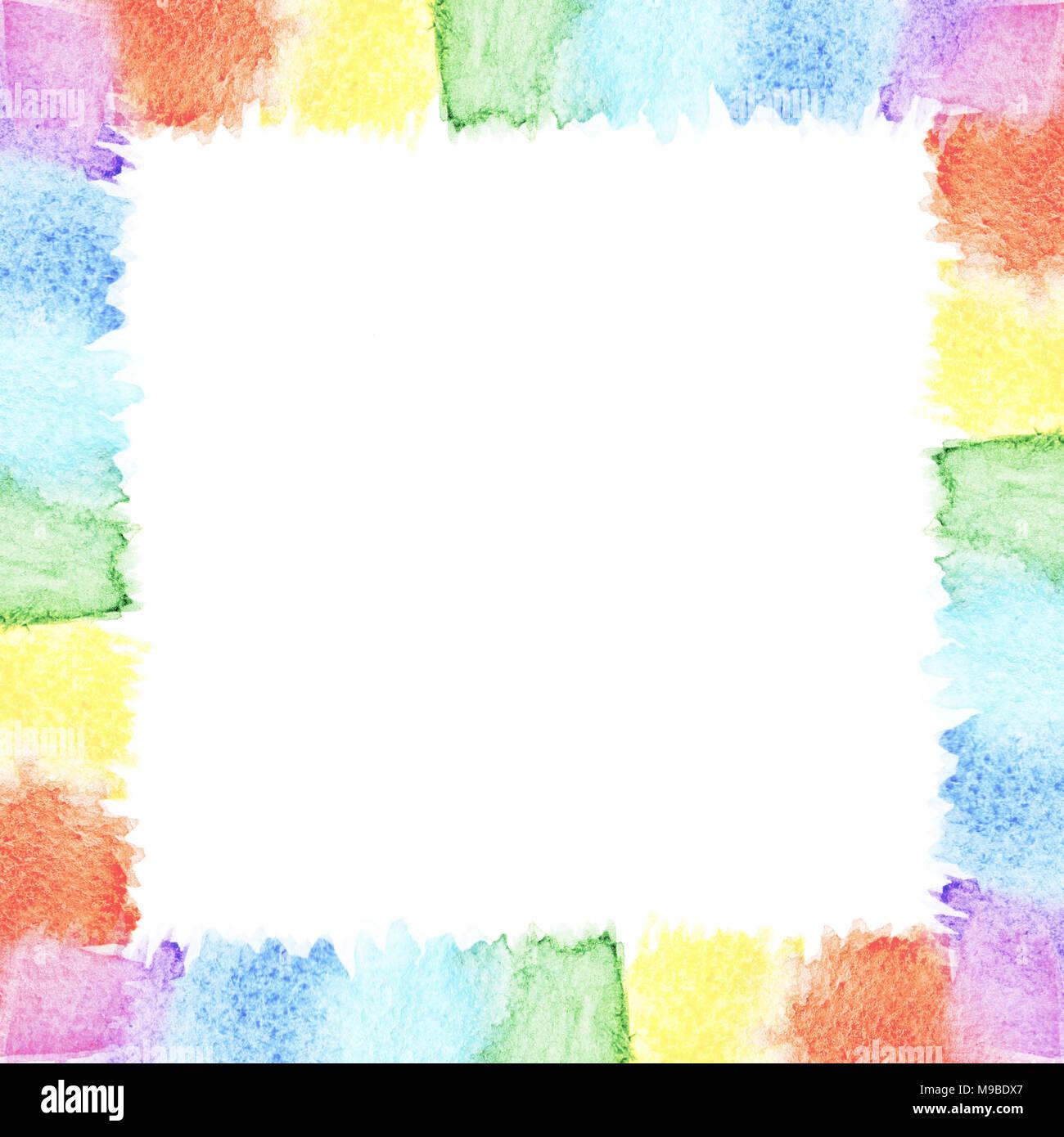 Abstrakte Aquarell frame Rainbow sieben leuchtenden Farben ...