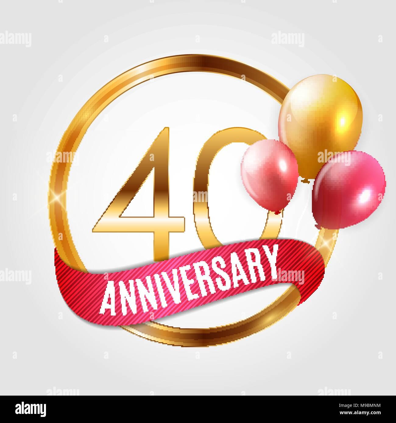Vorlage Gold Logo 40 Jahre Jubilaum Mit Farbband Und Luftballons