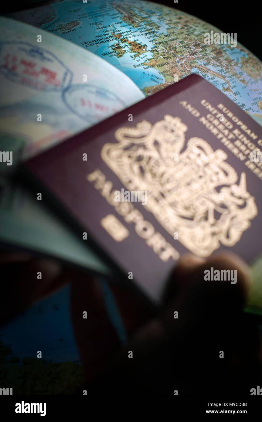 Nach Brexit werden Visa für Reisen in Europa benötigt werden. Stockbild