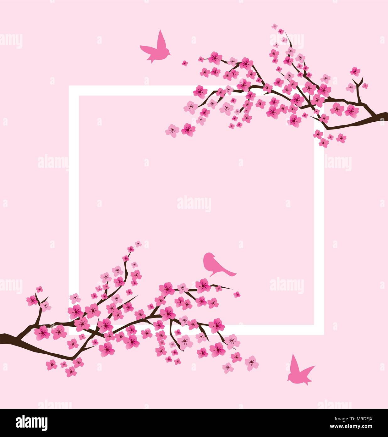 Vector Illustration von Cherry Blossom Rahmen mit rosa Vögel Vektor ...