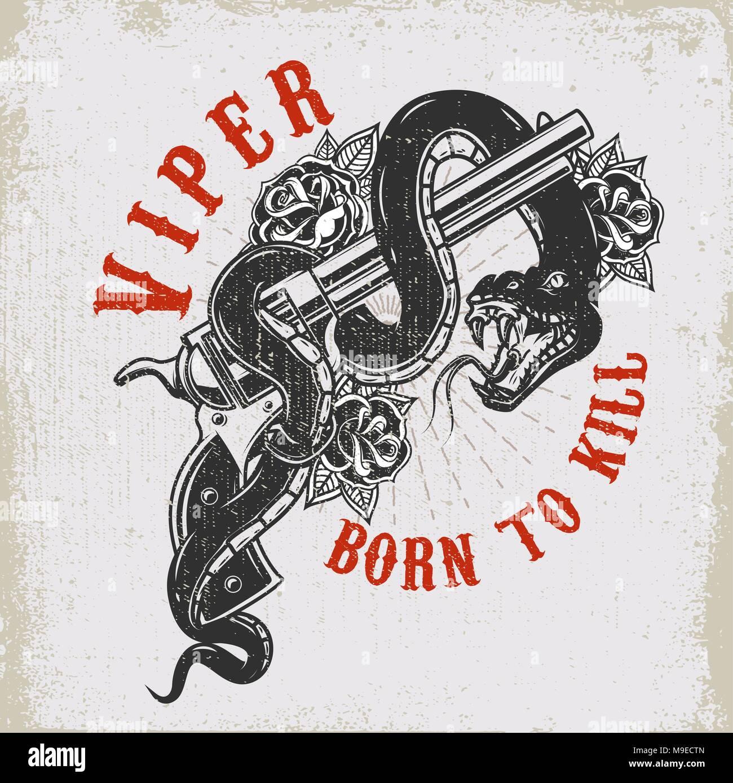 Totenkopf mit Schlange. Viper. Design Element für Poster, T