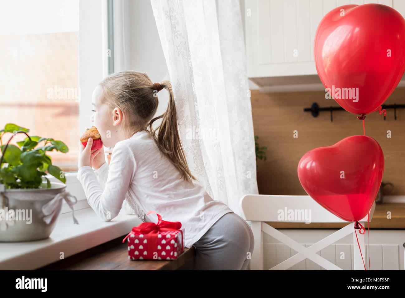 Cute Vorschüler Mädchen Feiert 6 Geburtstag Mädchen Mit Ihrem