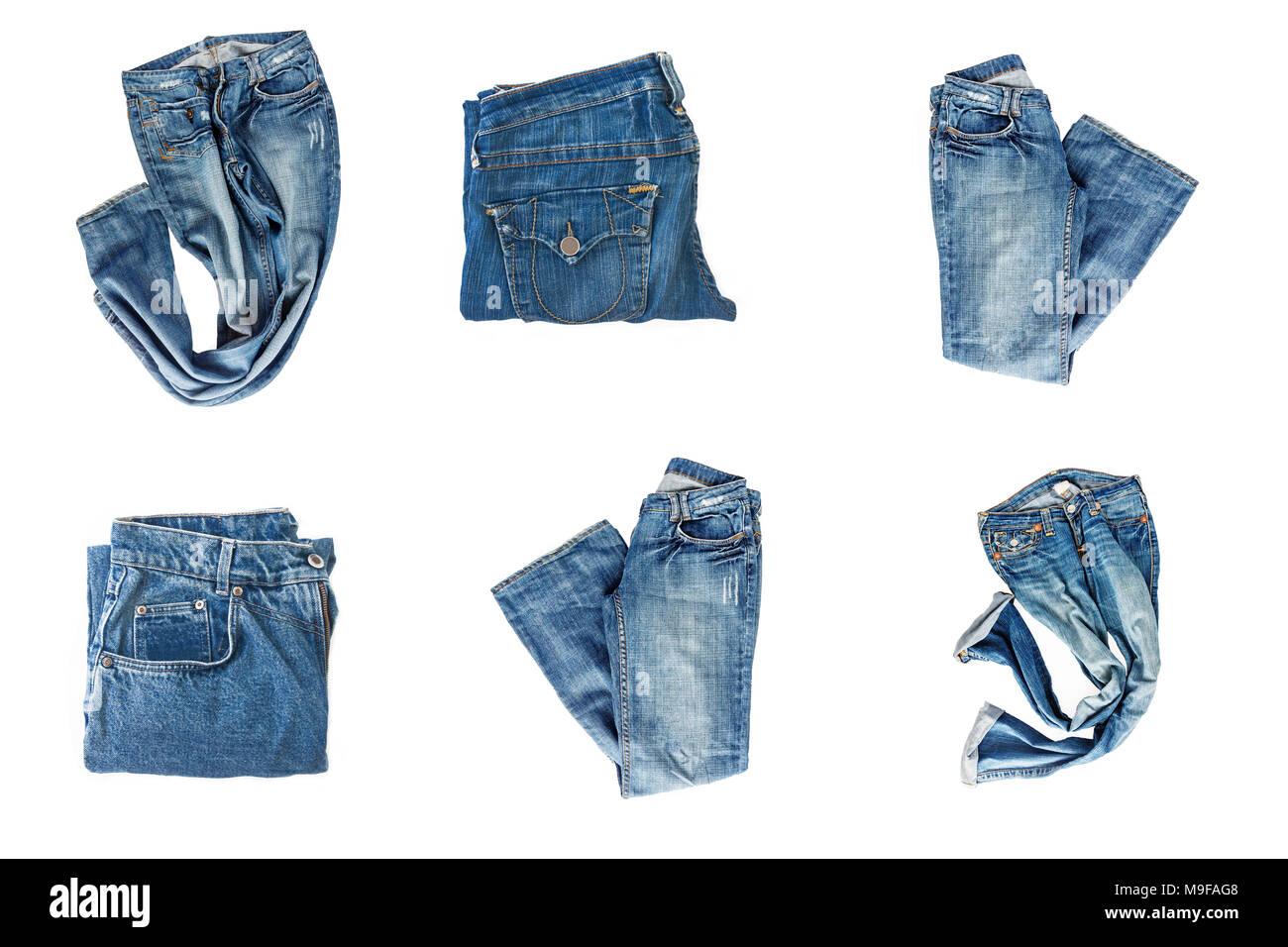 8770cb88d21c60 Sammlung der gefalteten Jeans auf weißem Hintergrund Stockfoto, Bild ...