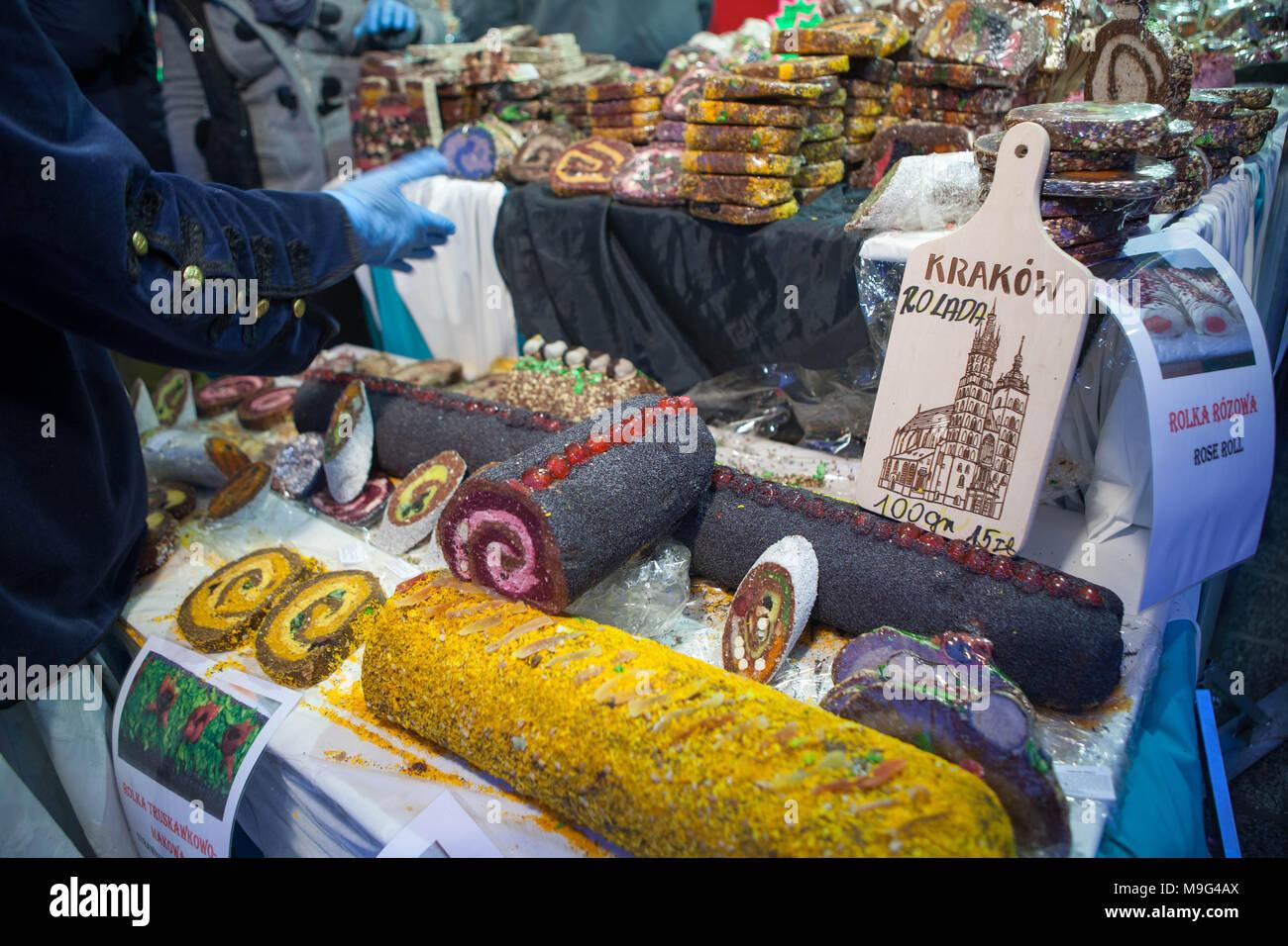 Krakau Polen 25 Mär 2018 Traditionelle Ostermärkte In Krakau