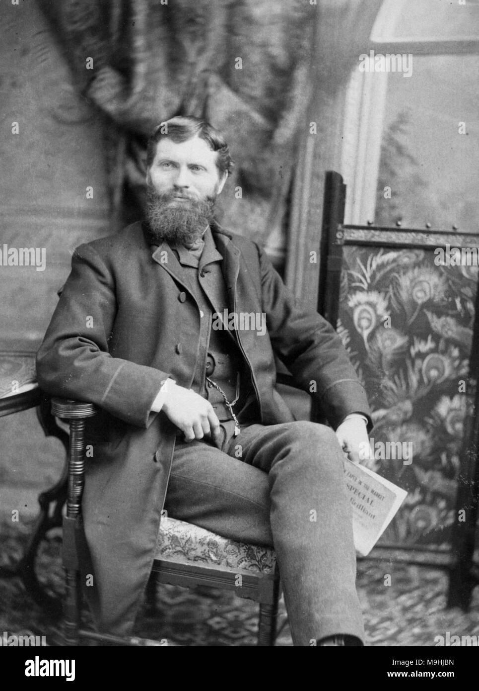 Francis Edgar Stanley, Francis Edgar Stanley, wie F.E. Stanley (1849-1918), US-amerikanischer Unternehmer und Mitbegründer, zusammen mit seinem Bruder Oscar Freelan Stanley, der Stanley Motor Carriage Company, die den Stanley Steamer gebaut bekannt. Stockbild