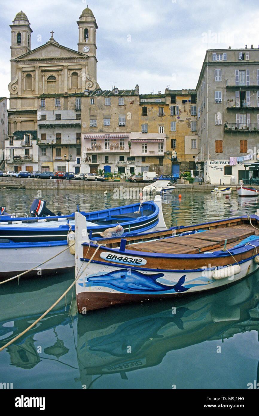 Die historische Altstadt und den Hafen von Bastia, Saint Jean Baptist Church, Korsika, Frankreich, Mittelmeer, Europa Stockbild