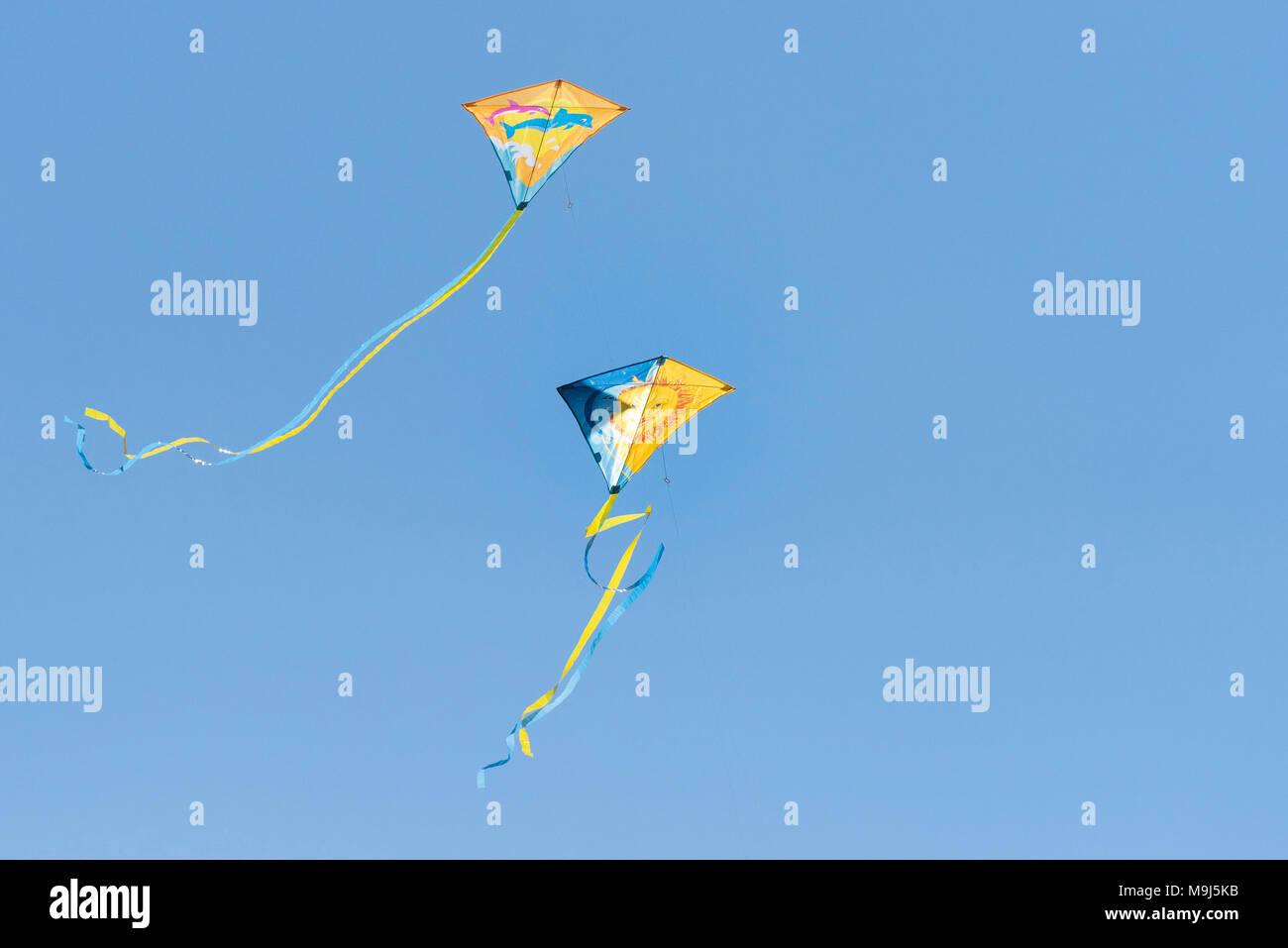 Zwei bunte Drachen vor einem blauen wolkenlosen Himmel fliegen. Stockbild