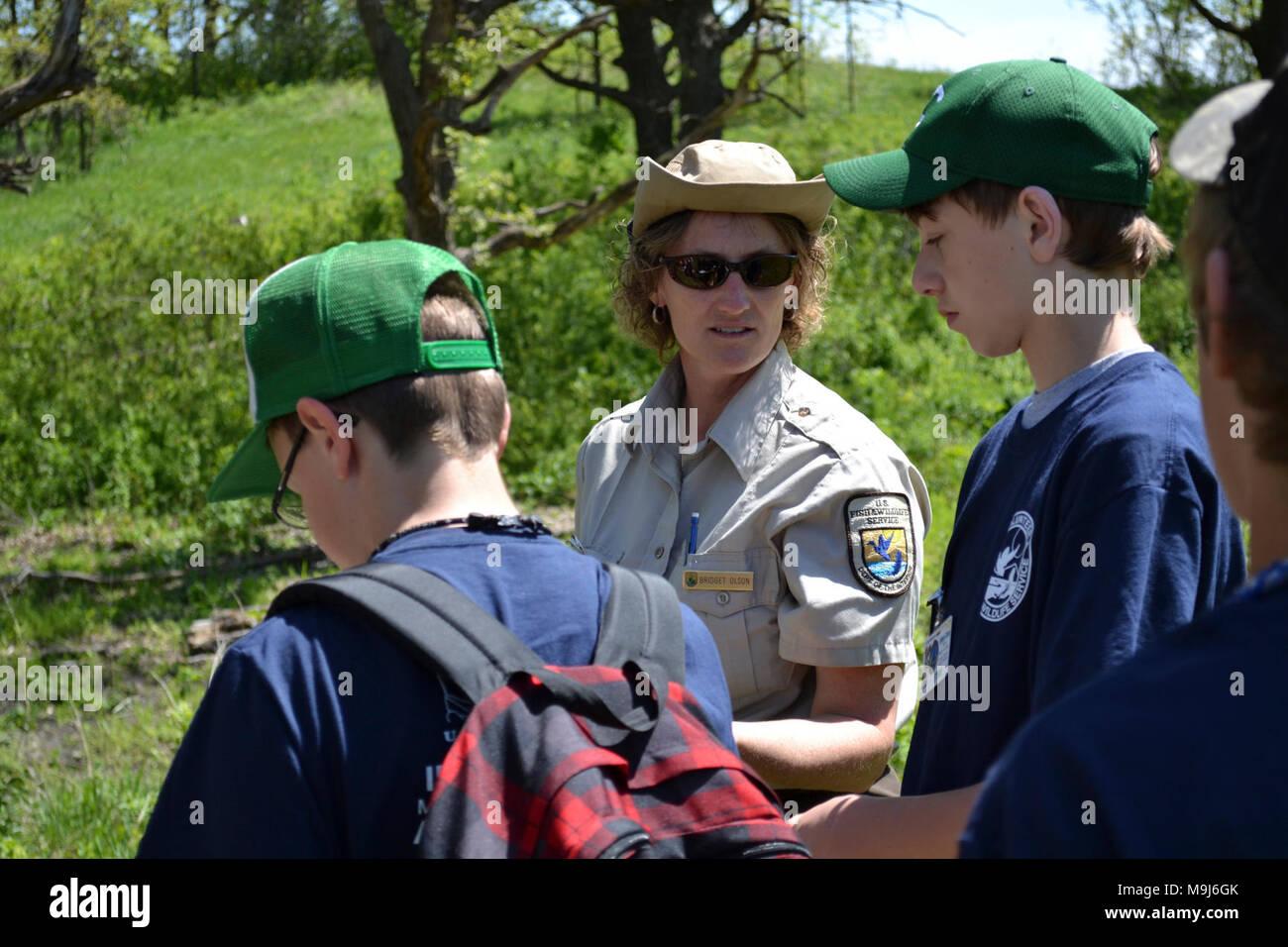 Litchfield Wetland Management District Wildlife Refuge Spezialist Birgitta Olson lehrte Pfadfinder über das Konzept der Vektoren. Foto von Tina Shaw/USFWS. Stockfoto