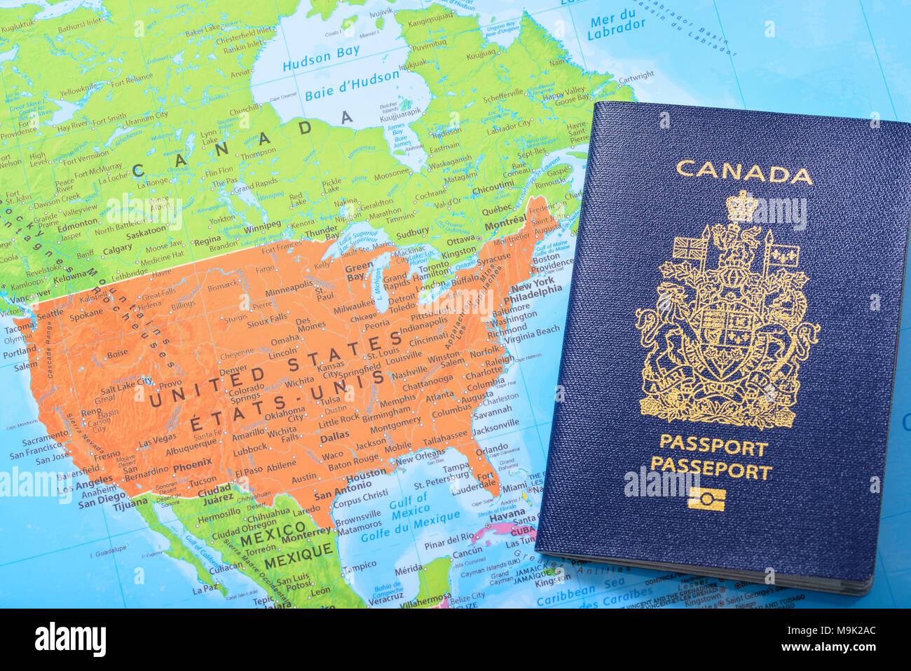 Mexiko Staaten Karte.Kanadischen Pass Auf Eine Karte Mit Kanada Den Vereinigten