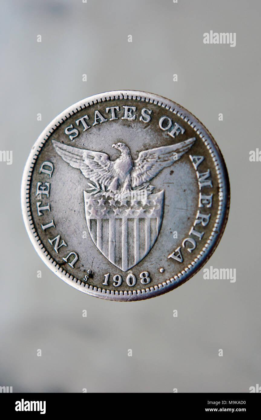1908 Philippinische Peso Münze Silber Unter Amerikanischer Hoheit