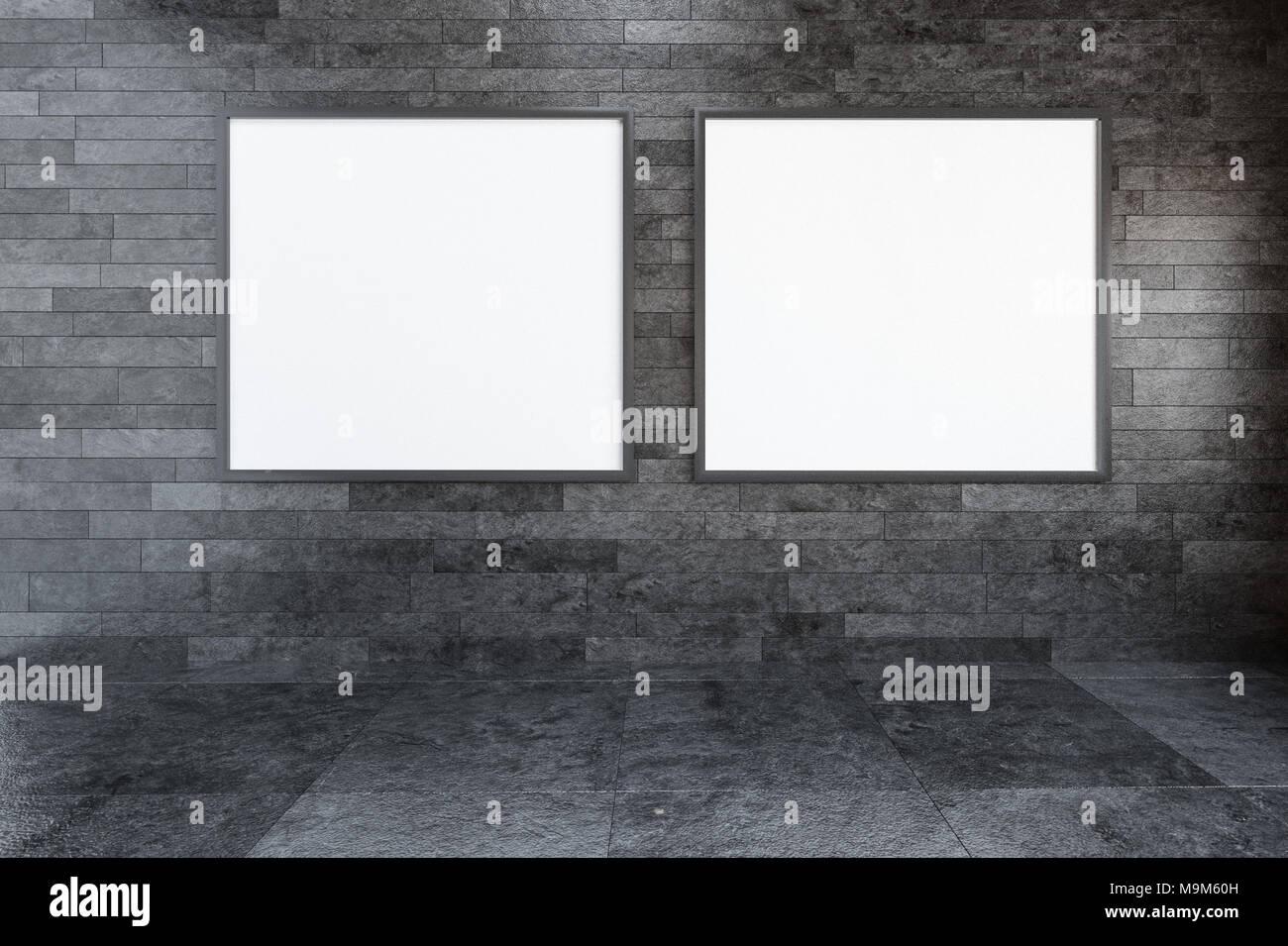Zwei Rechteckigen Weißen Bilderrahmen In Einer Galerie Für Moderne Kunst  Hängen Nebeneinander Auf Eine Strukturierte Graue Wand Mit Kopieren Sie  Platz Für ...