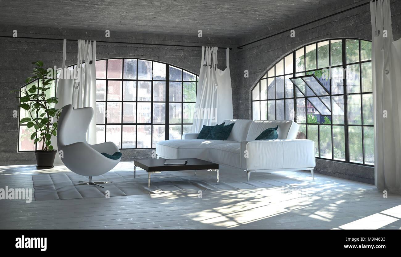 Gemütliches Wohnzimmer Ecke Mit Einem Weißen Sofa Und Whirlpool - Whirlpool im wohnzimmer