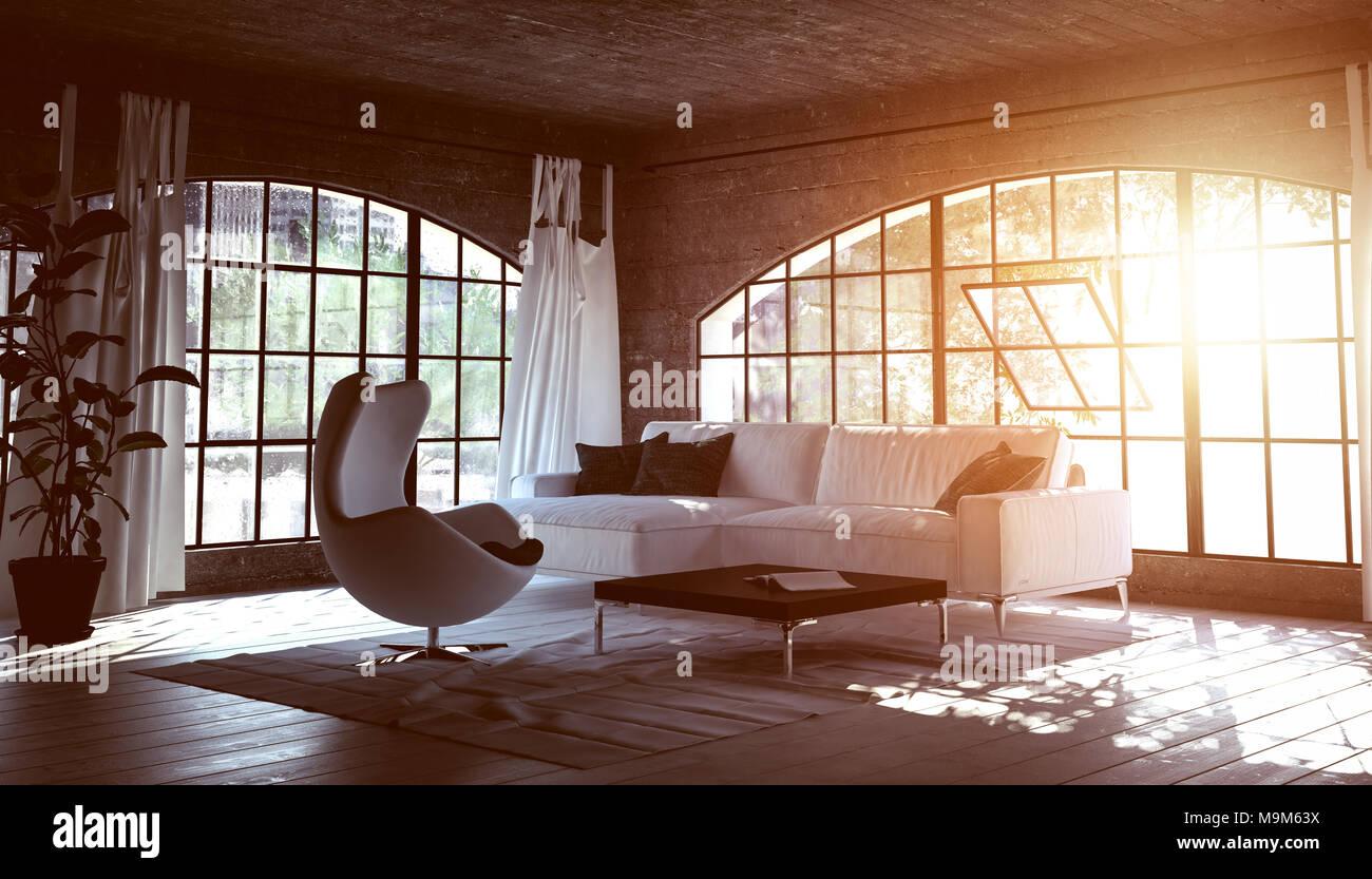 Einfaches elegantes Wohnzimmer mit einem warmen Ambiente aus ...