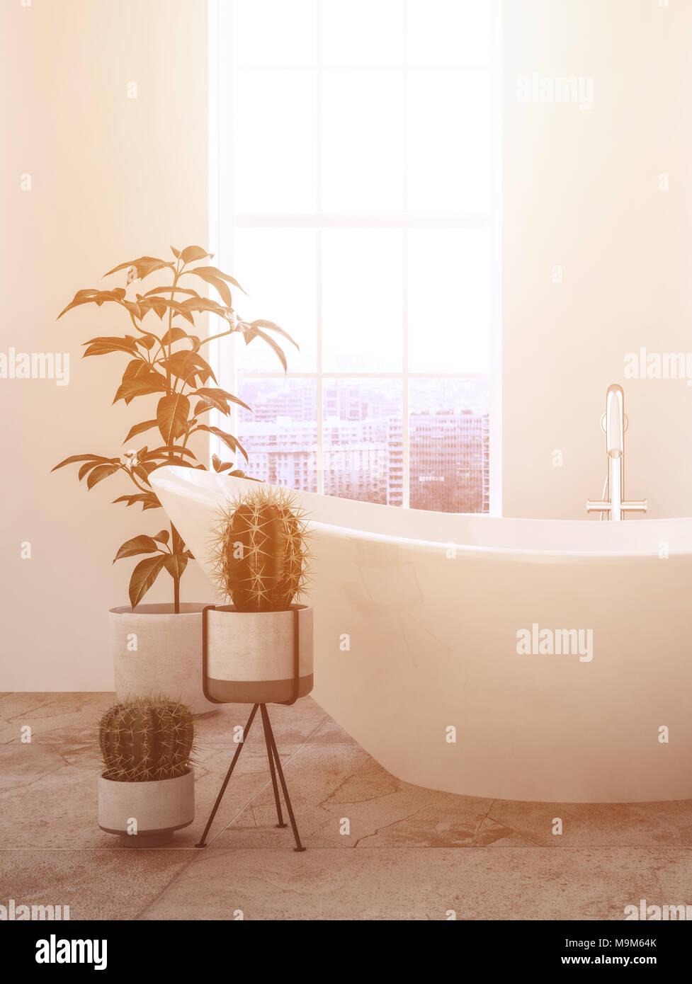 Moderner Luxus Badezimmer Mit Warme, Gemütliche Atmosphäre Aus Dem Sun  Streaming In Durch Ein Großes Fenster Auf Eine Ovale Badewanne Und  Topfpflanzen.