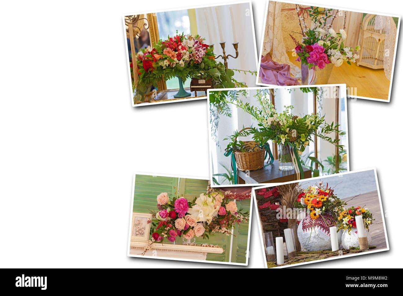 Collage Auf Weissem Hintergrund Ungewohnliche Dekor Blumen Baum