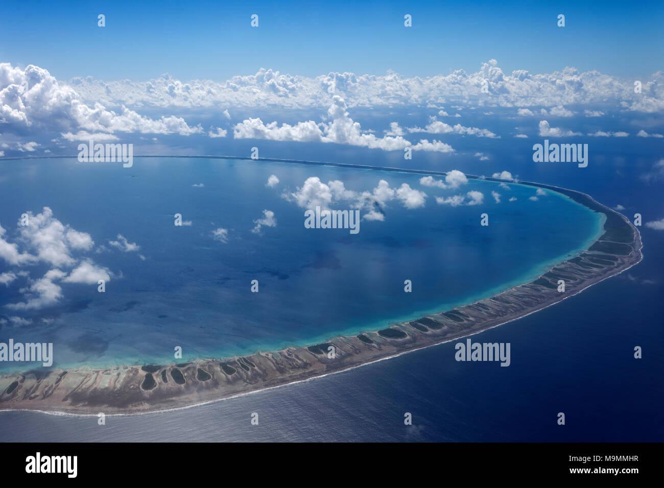 Luftbild, Ringatoll, Rangiroa, Gesellschaftsinseln, Windward Islands, Französisch-Polynesien Stockbild