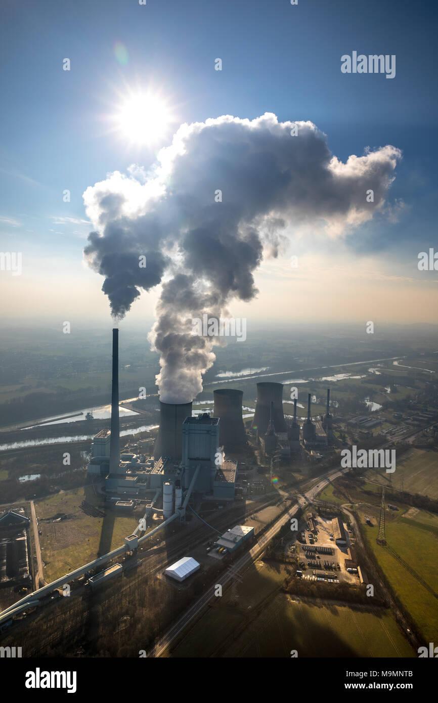 Luftaufnahme, RWE-Kohlekraftwerk, Werne, Nordrhein-Westfalen, Deutschland Stockbild