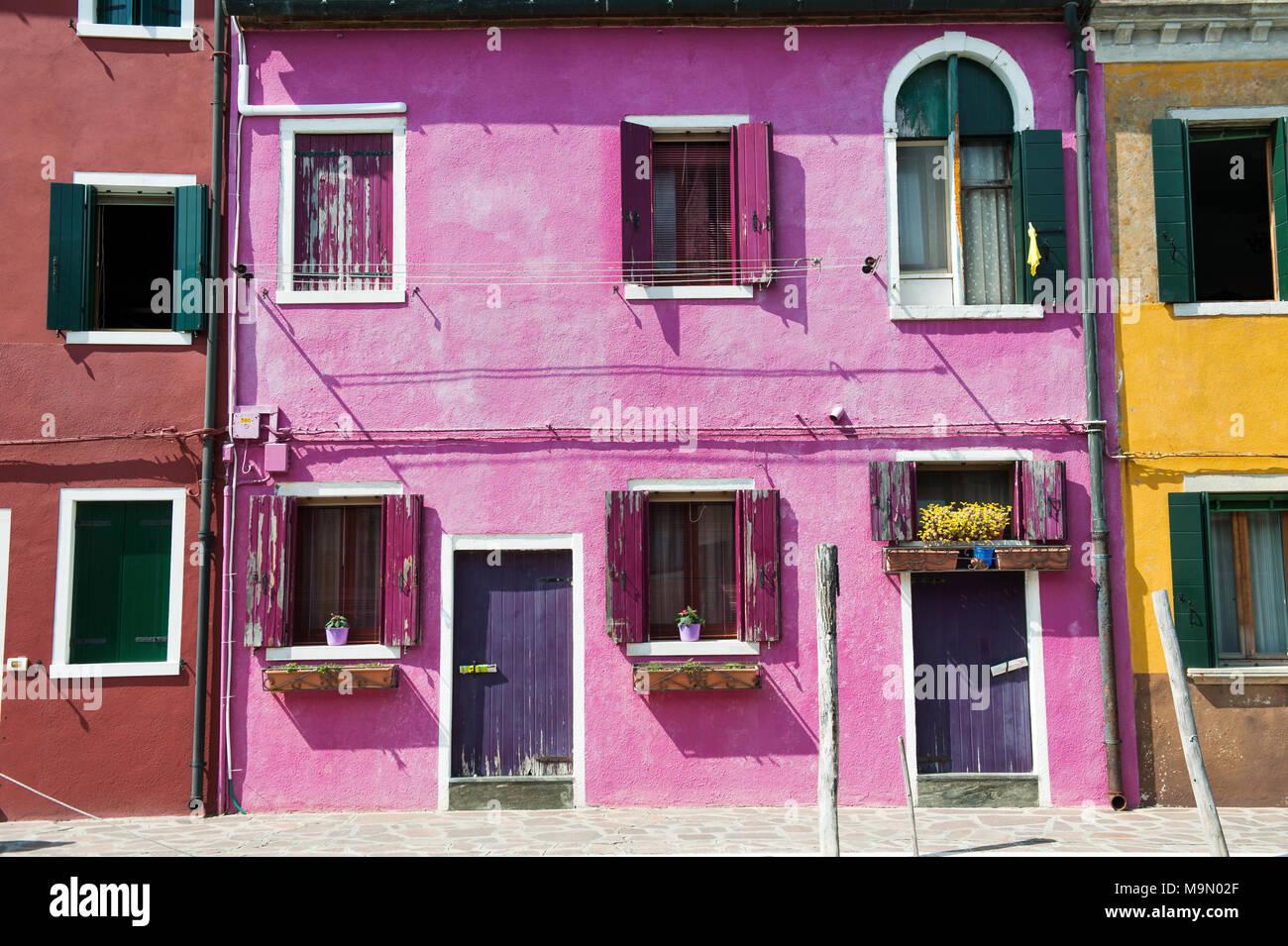 Purple House in Insel Burano in der Nähe von Venedig, Italien, Europa Stockbild