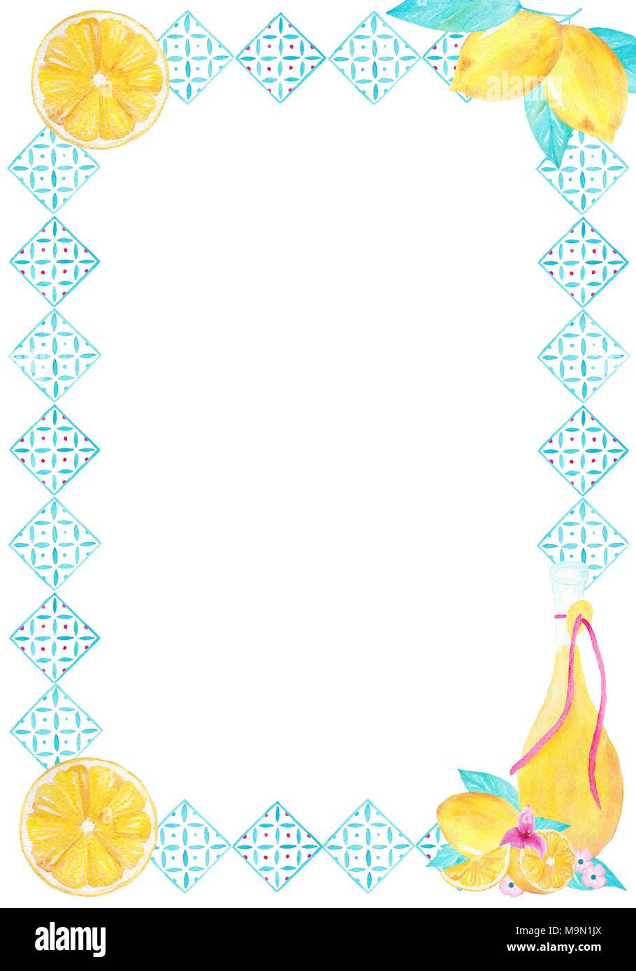 Aquarell handgefertigte dekorative Umrandung mit Zitrone gelbe ...