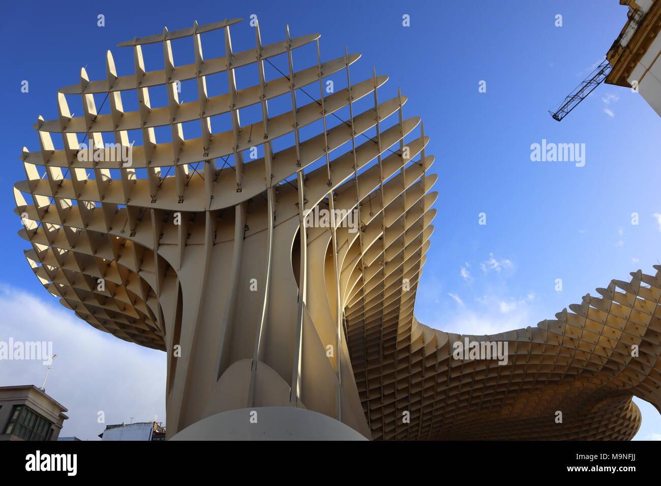 Metropol Parasol Moderne Architektur Holz Struktur Gebogene Form Jurgen Mayer Ein Wahrzeichen Von Sevilla Spanien