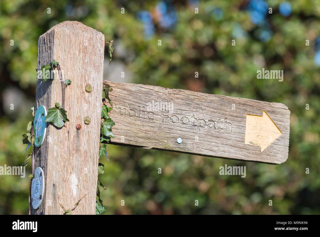 Holz- öffentlichen Fußweg finger post Zeichen in der Britischen Landschaft in England, Großbritannien. Stockbild