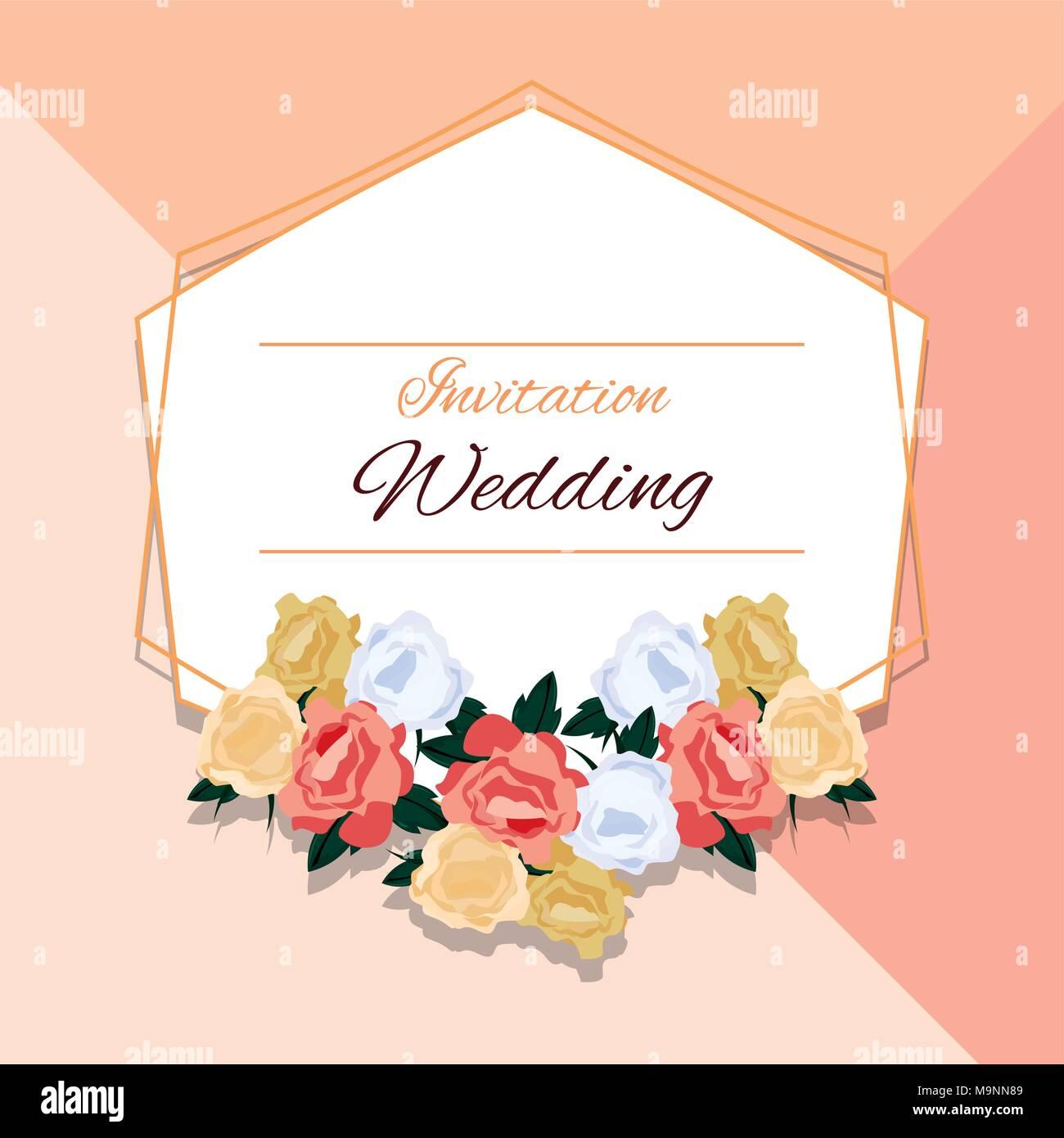 Blumen Hochzeit Einladung Design Mit Schönen Blumen Und Dekorative Rahmen  über Bunten Hintergrund, Vector Illustration