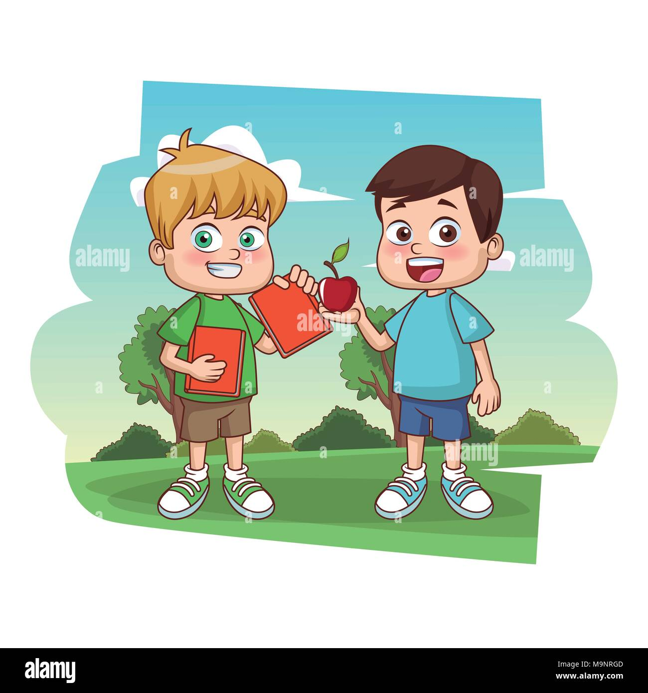 Süße Kinder Bücher lesen Stockbild