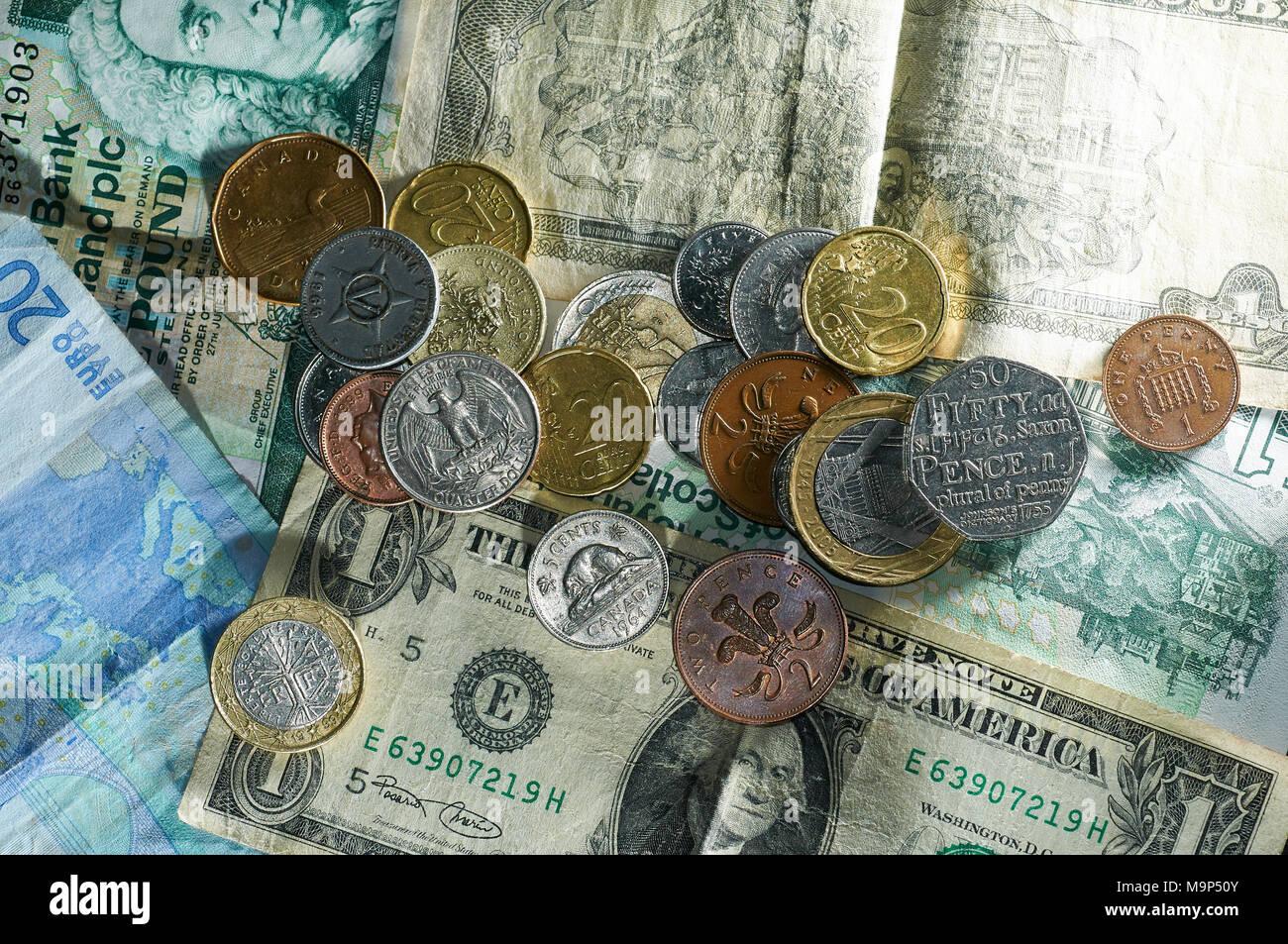 Geld Münzen Verschiedener Länder Euro Dollar Pfund Türkische Lyra