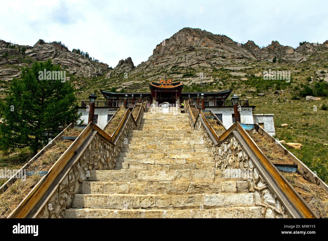 Treppe zum buddhistischen Kloster Aryapala Einleitung und Meditation Center, Gorchi-Terelj Nationalpark Terelj, Mongolei Stockbild