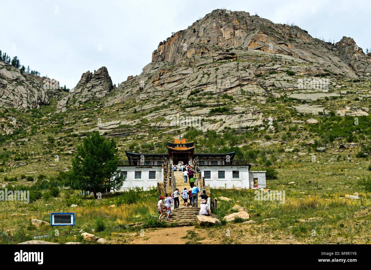 Buddhistische Kloster Aryapala Einleitung und Meditation Center, Gorchi-Terelj Nationalpark Terelj, Mongolei Stockbild