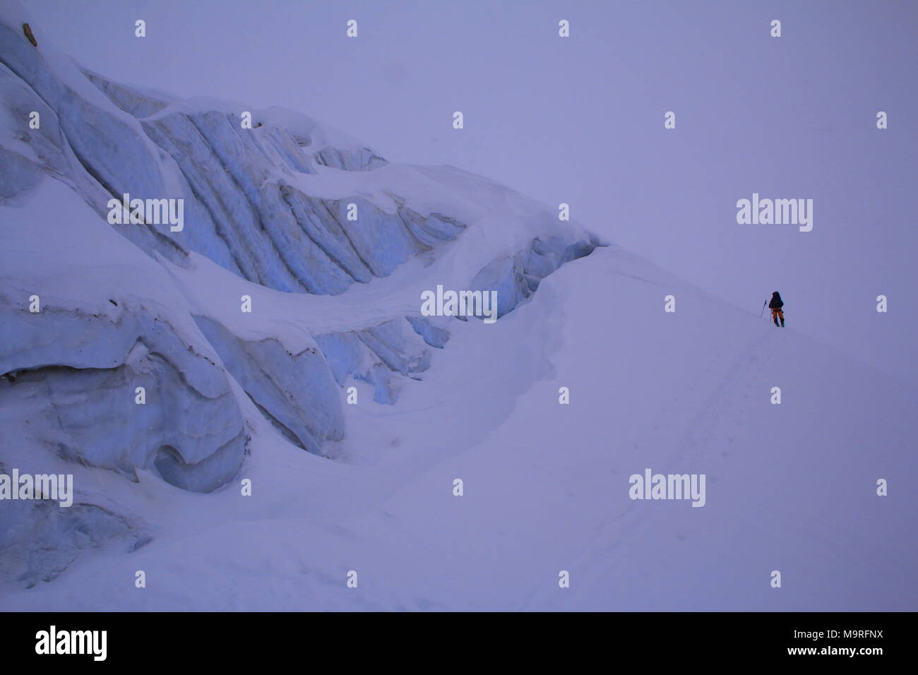 Eisfall auf dem Gletscher Stockbild