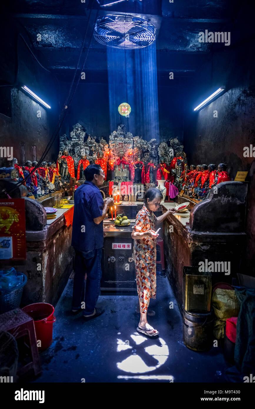 Asien, Südostasien, Südvietnam, Vietnam, Saigon, Ho Chi Minh Stadt, Tempel Stockbild