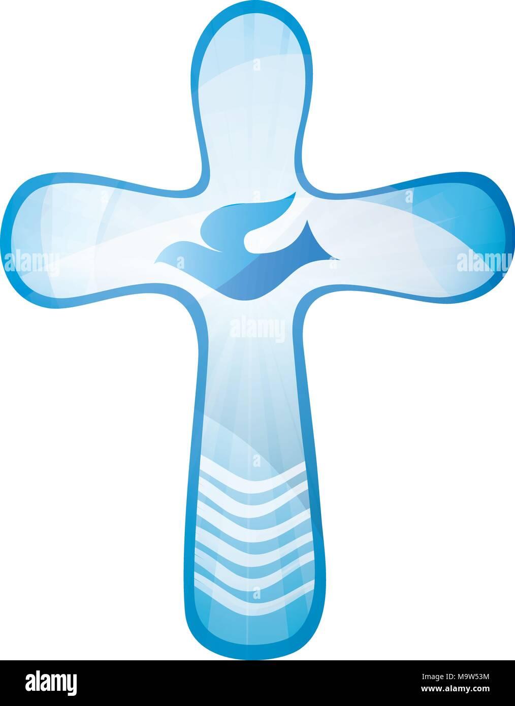 Taufe Christliche Kreuz Mit Taube Und Wellen Wasser Auf