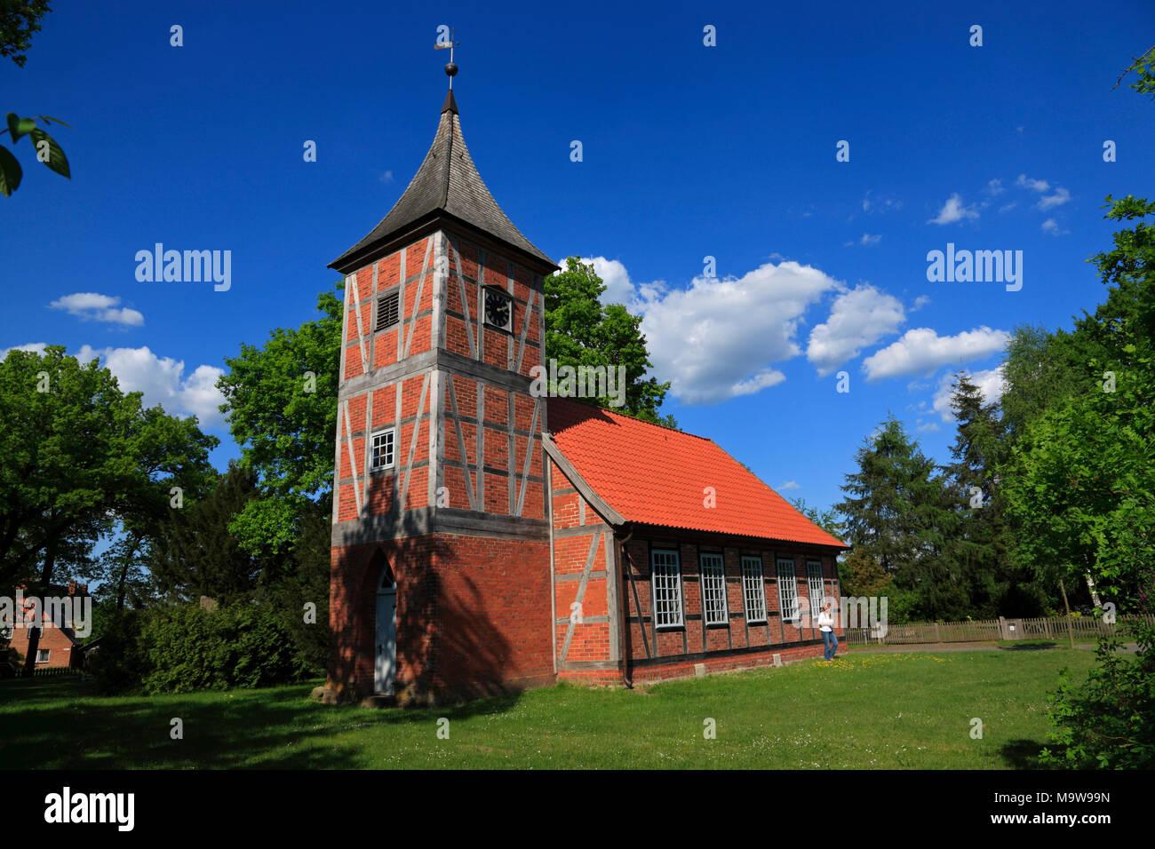 St. Nikolai Kapelle in Haar, Amt Neuhaus, Niedersachsen, Deutschland, Europa Stockbild