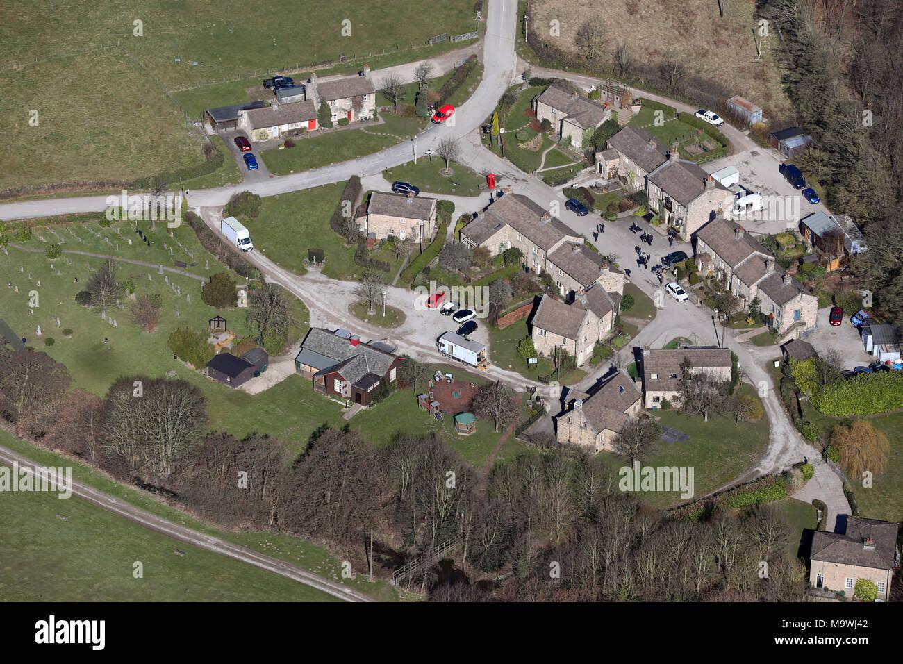 Luftaufnahme der Emmerdale TV Lage. Stockbild