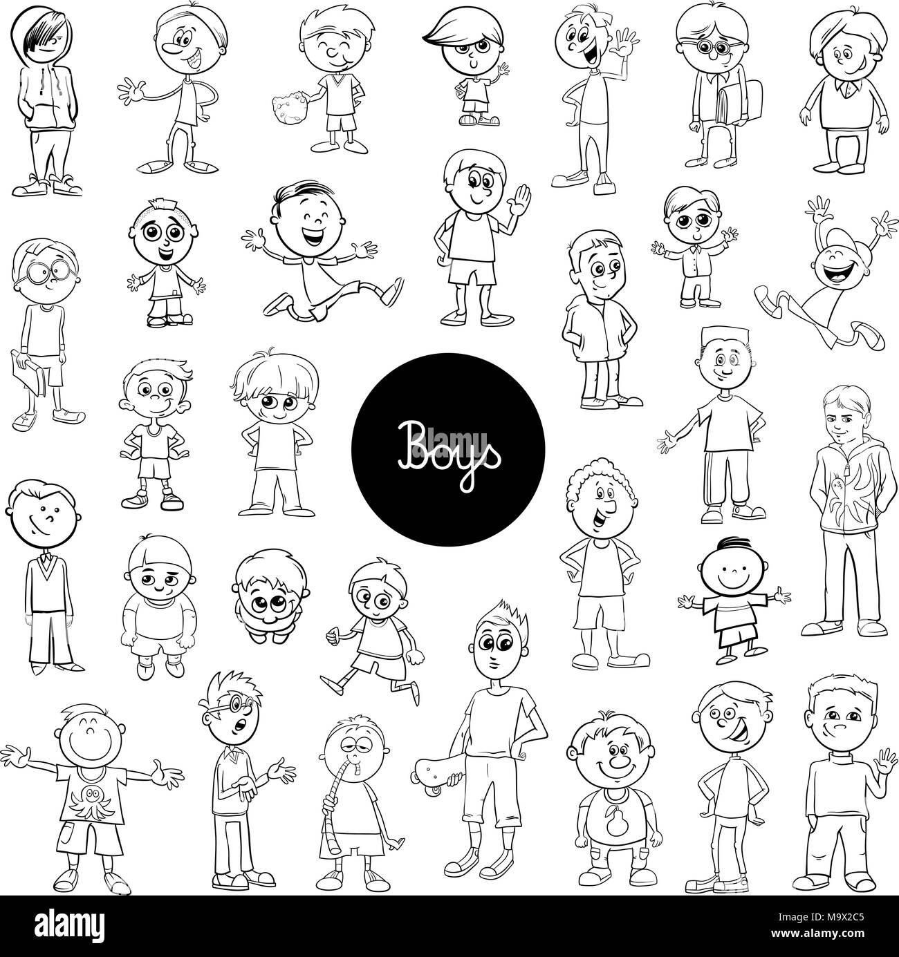 Schwarze und Weiße Cartoon Illustration der elementare Alter jungen ...