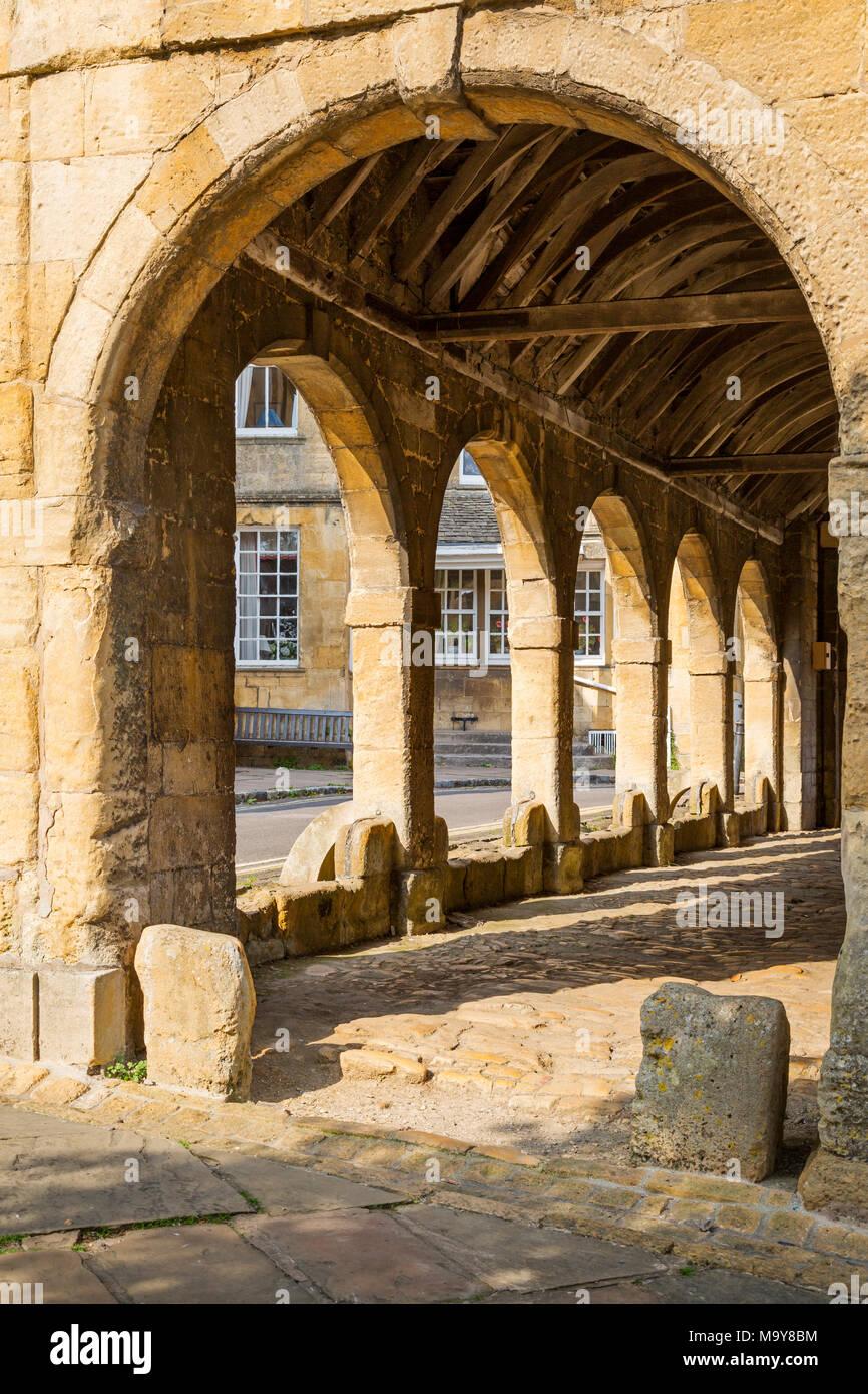 Stein Halle - errichtet 1627 in Chipping Campden, Gloucestershire, England Stockbild