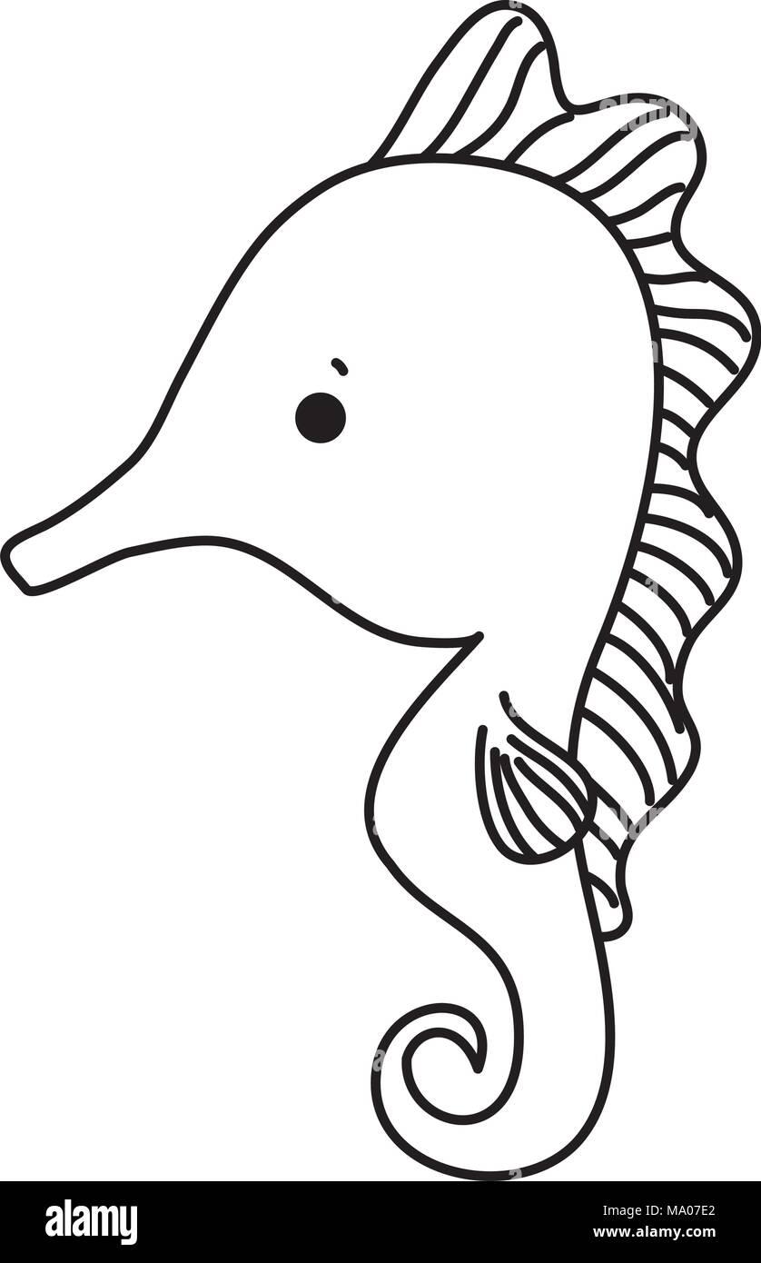 Vector Illustration Seahorse Cartoon Stockfotos & Vector ...