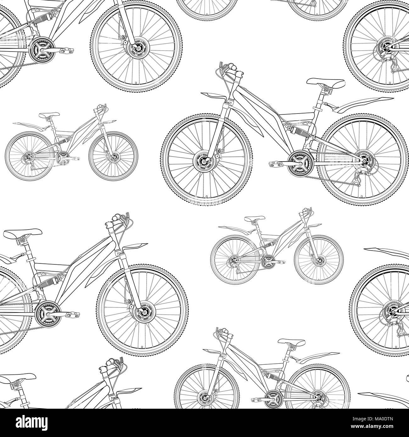 Fahrrad Kontur Zeichnen Nahtlose Muster Schwarzweiß Schwarz Weiß