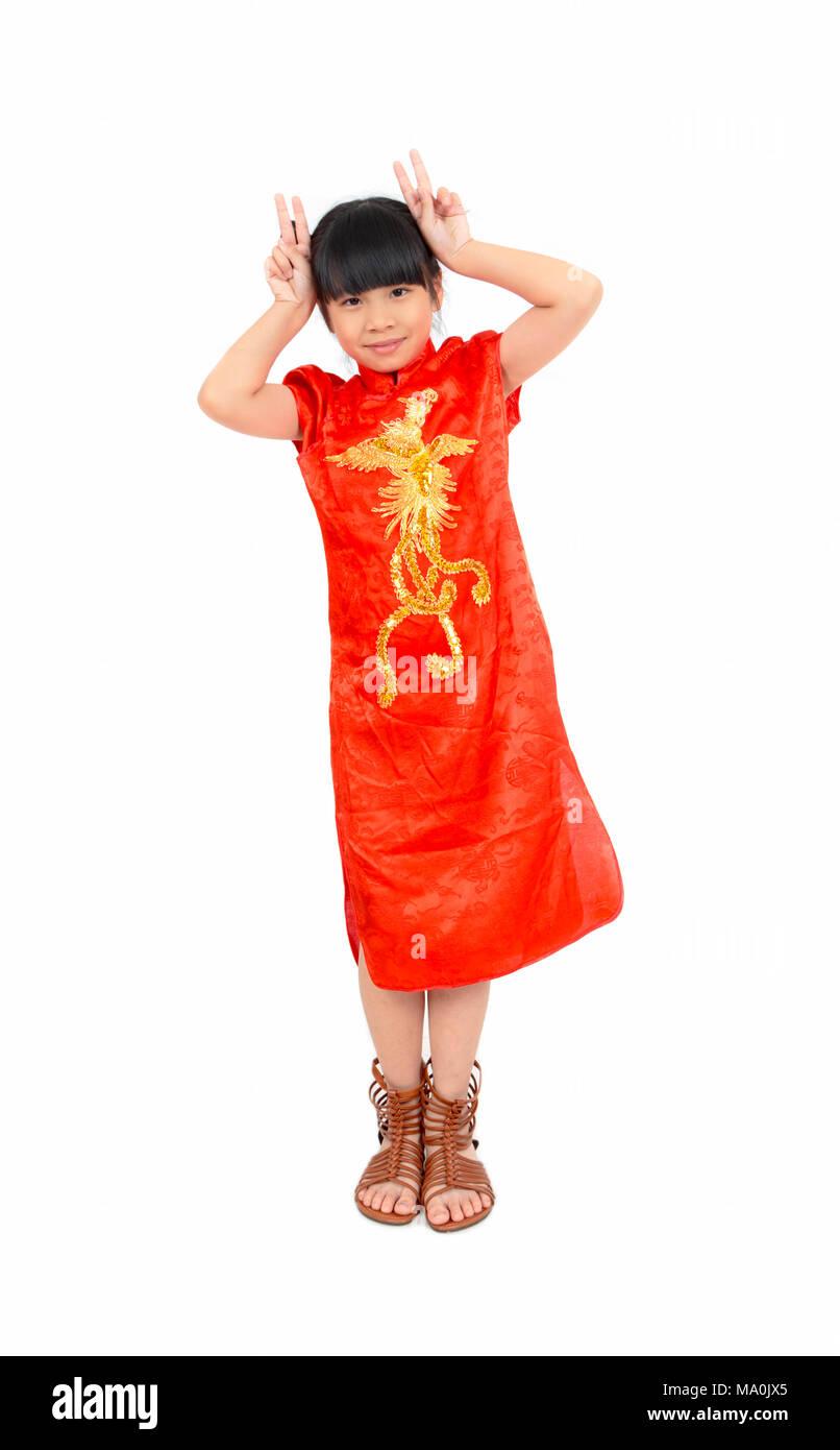 Smileing asiatischen Mädchen wünschen Ihnen ein frohes Chinesisches ...