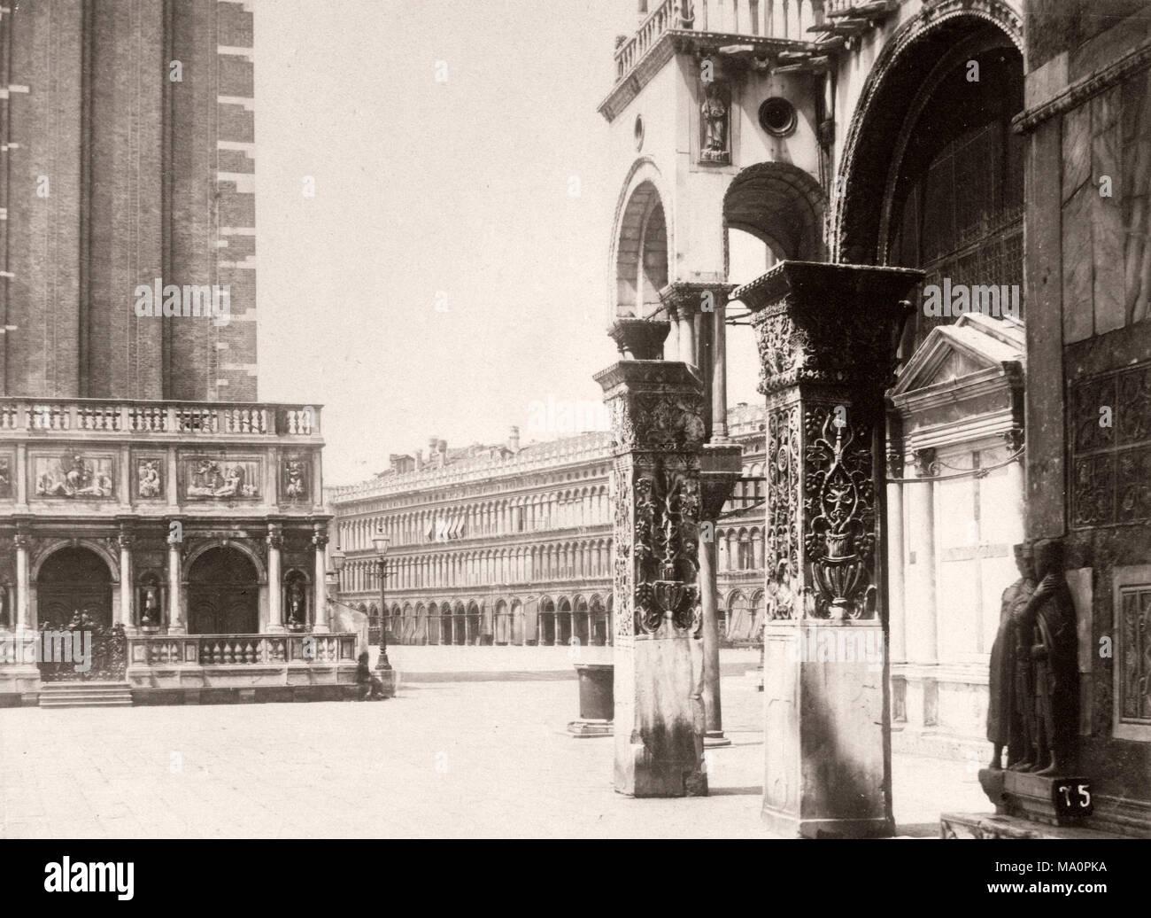 19 Vintage Foto Italien Markusplatz In Venedig Dom Und