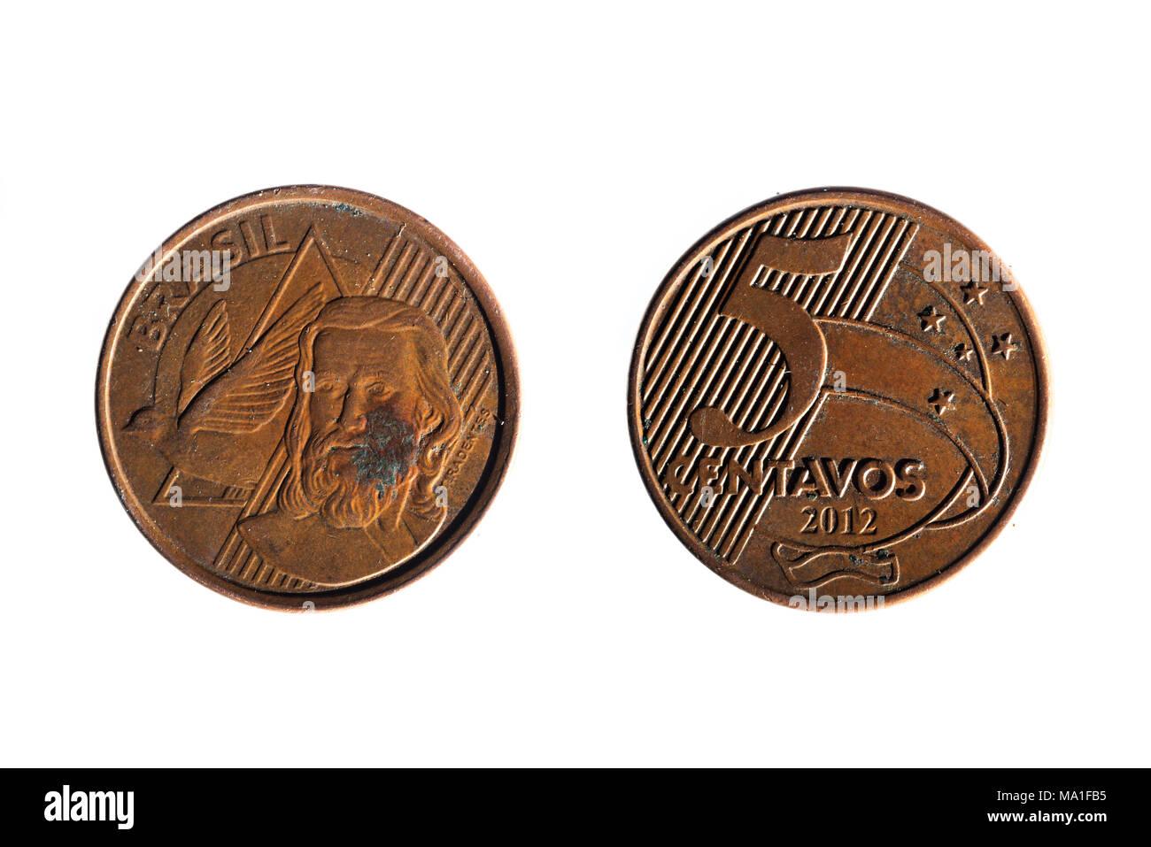 Vorder Und Rückseite Eines Brasilianischen Real Fünf Cent Münze Auf