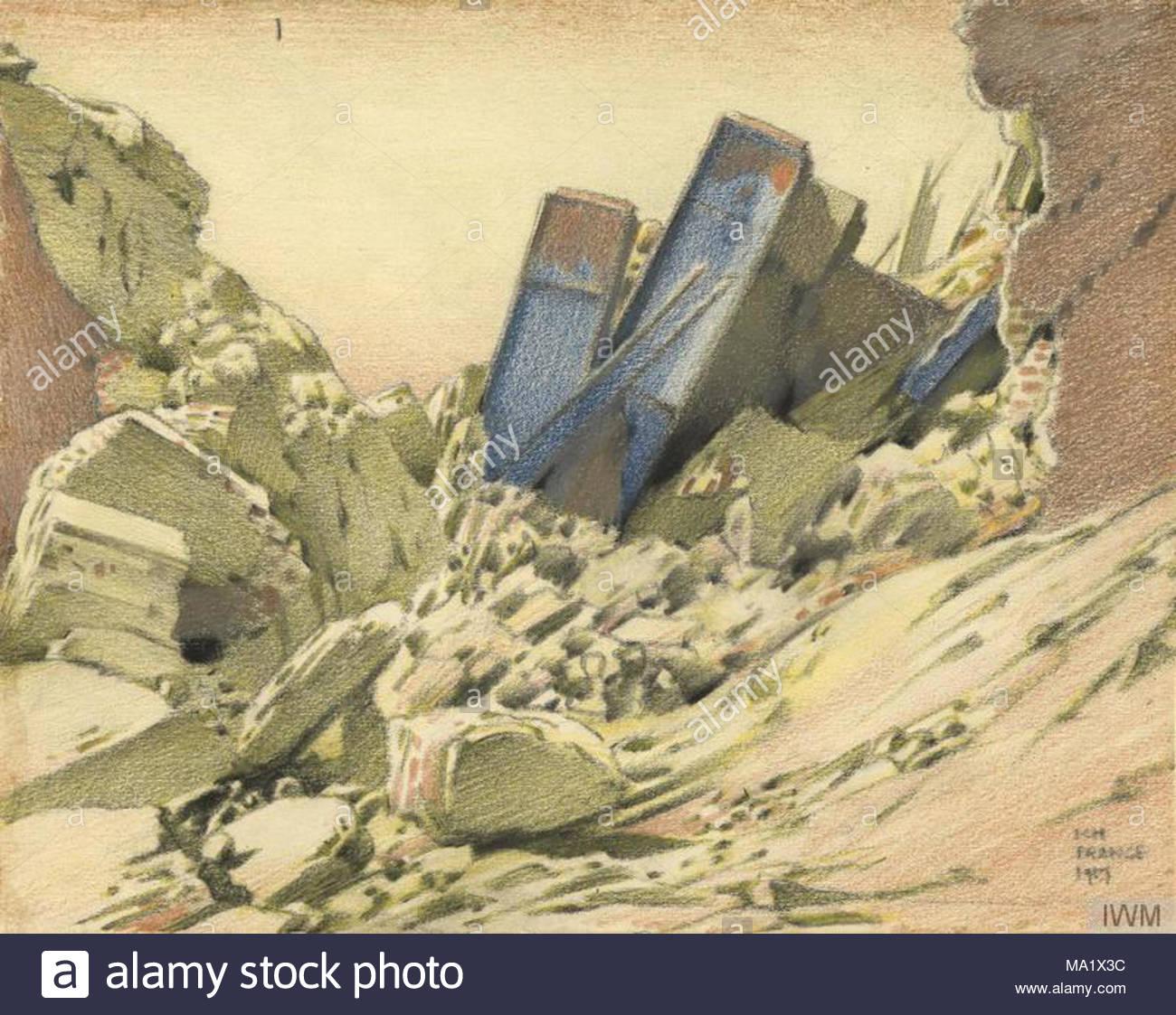 Eine zerstörte Eisenbahnbrücke in der Nähe der Hindenburg Linie - in ...