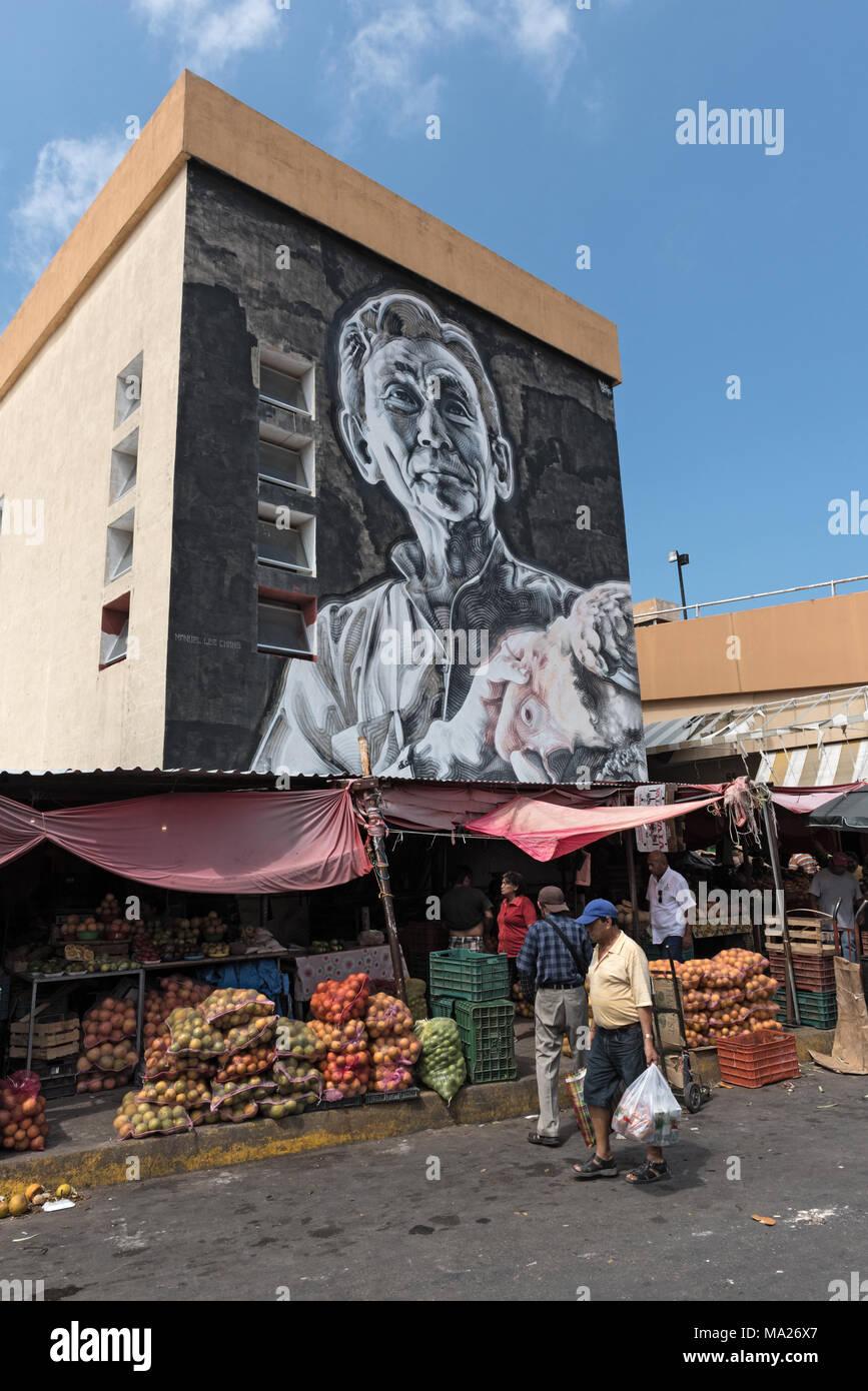 Street Art im Mercado Principal bei San Francisco de Campeche, Mexiko Stockbild