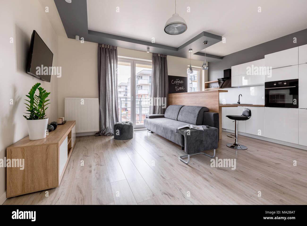 Modernes Apartment mit tv Wohnzimmer und offene Küche Stockfoto ...