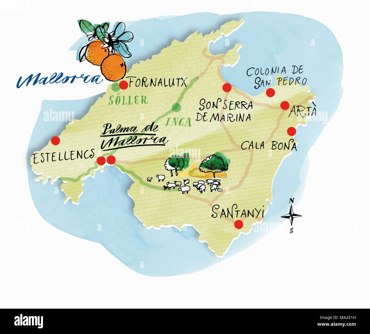 Mallorca Karte Umriss.Eine Karte Von Mallorca Stockfoto Bild 178305165 Alamy