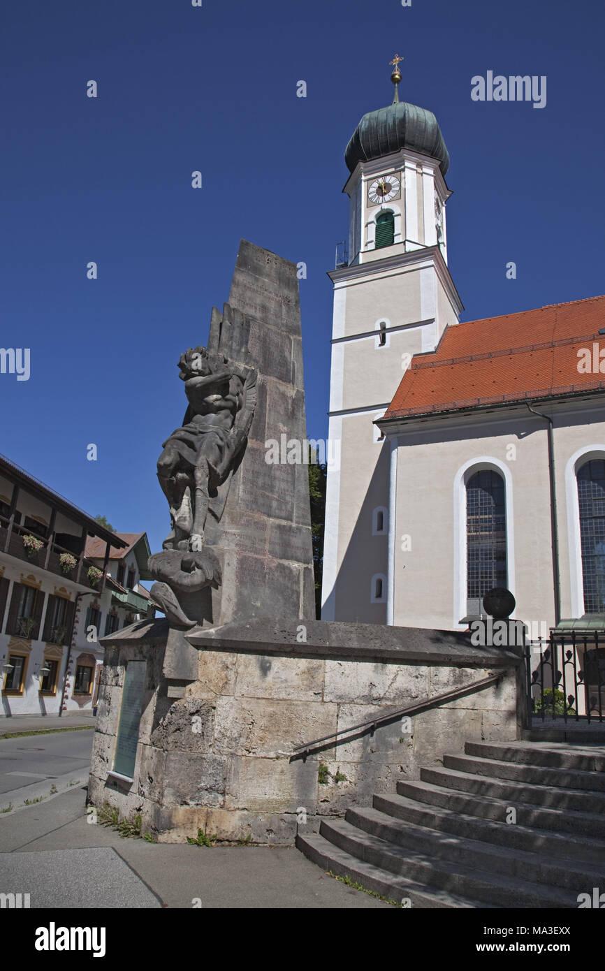 Pfarrkirche St. Peter und Paul, Oberammergau, Oberbayern, Bayern, Deutschland, Stockbild