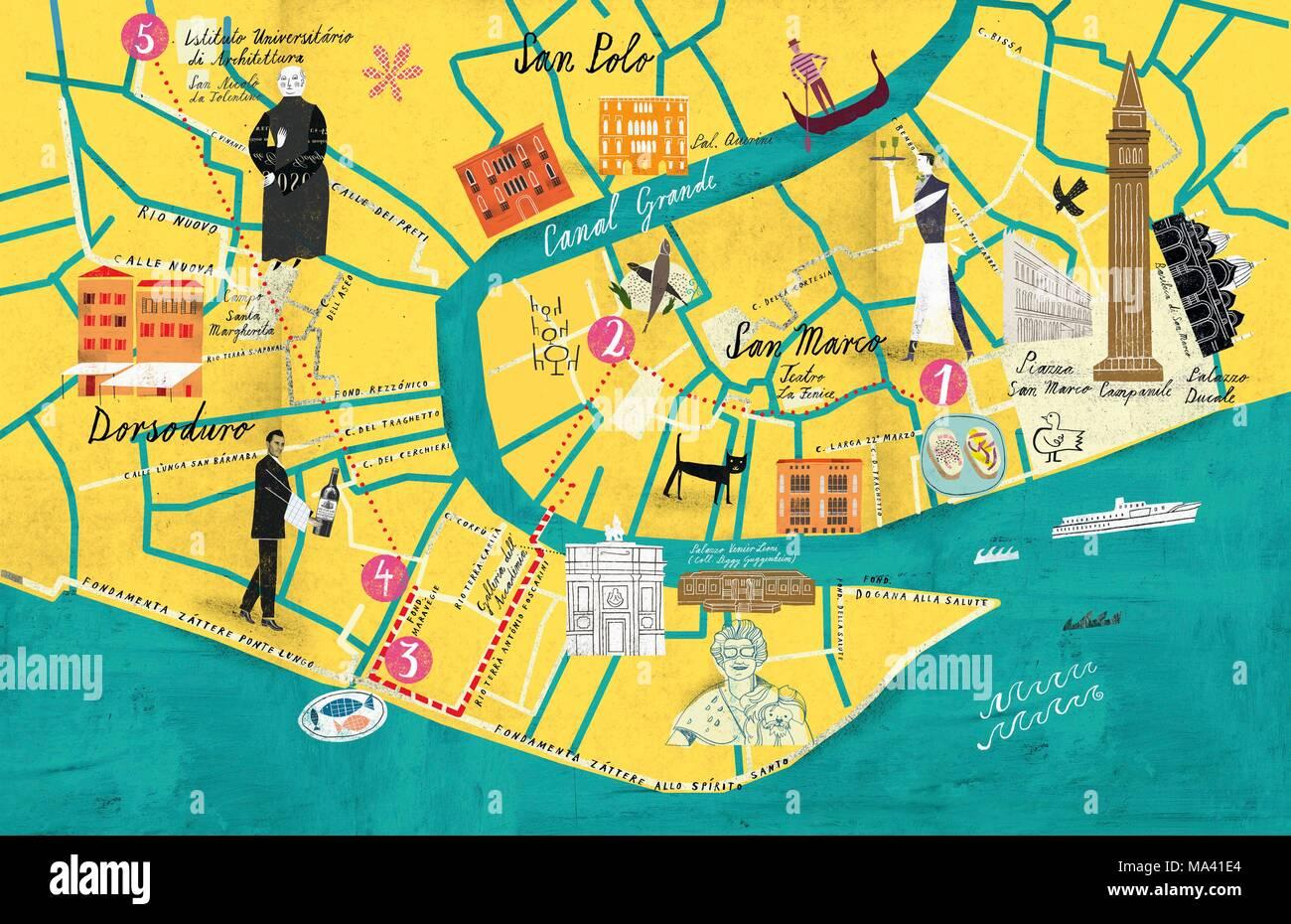 Eine Karte Von San Marco Venedig Dorsoduro Stockfoto Bild