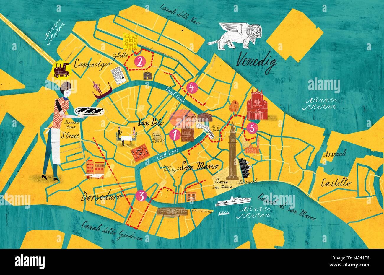 Venedig Karte.Eine Karte Von Venedig Stockfoto Bild 178339230 Alamy
