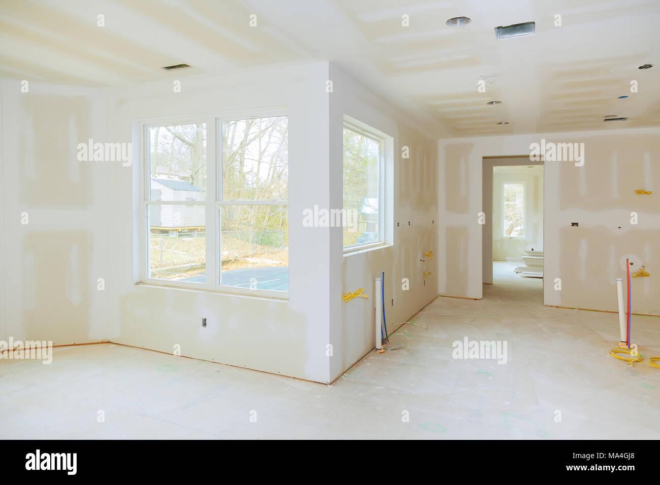 Construction Drywall Plasterboard Interior Room Stockfotos ...